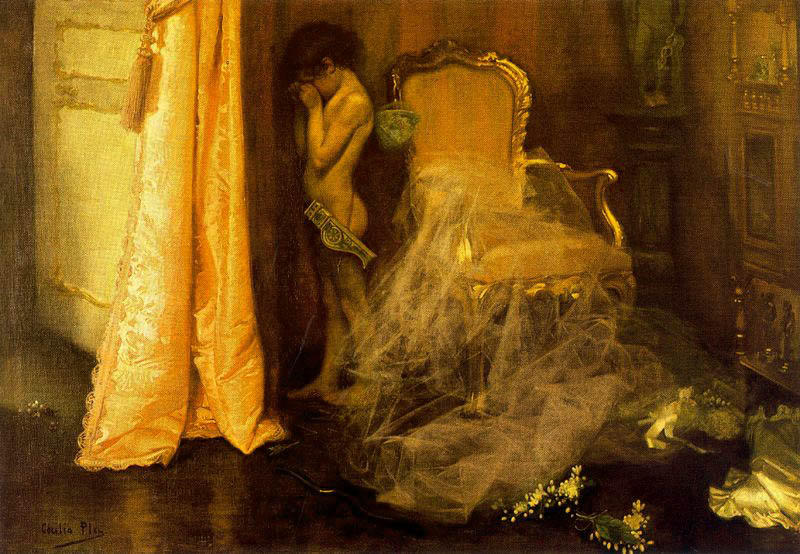 Escena interior, Oil On Canvas by Cecilio Pla Y Gallardo (1860-1934, Spain)