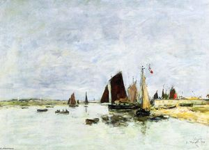 Eugène Louis Boudin - Etaples, Boats in Port