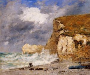Eugène Louis Boudin - Etretat: the Amont Cliff in November
