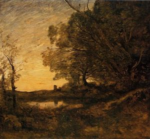 Jean Baptiste Camille Corot - Evening - Distant Tower