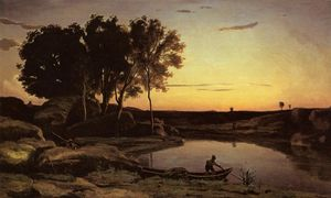 Jean Baptiste Camille Corot - Evening Landscape (also known as The Ferryman, Evening)