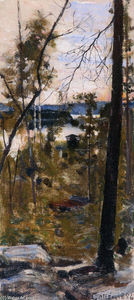 Akseli Gallen Kallela - Evening Landscape from Korpilahti