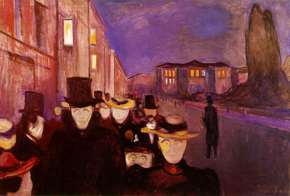 Evening on Karl Johan Street, Oil On Canvas by Edvard Munch (1863-1944, Sweden)