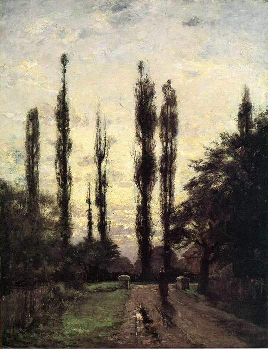 Evening, Poplars, 1885 by Theodore Clement Steele (1847-1926, United States) | Painting Copy | WahooArt.com