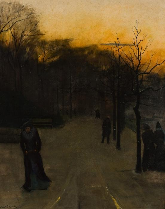 Evening walk in the snow by Pieter Florentius Nicolaas Jacobus Arntzenius (1864-1925, Indonesia) | Museum Art Reproductions Pieter Florentius Nicolaas Jacobus Arntzenius | WahooArt.com