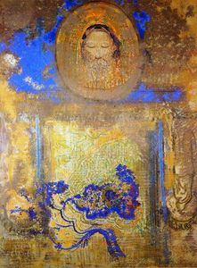 Odilon Redon - Evocation (also known as Head of Christ or Inspiration from a Mosaic in Revenna)