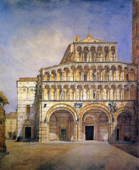 The Facade of the Duomo at Lucca, 1885 by Henry Roderick Newman (1833-1918, United States) | Oil Painting | WahooArt.com