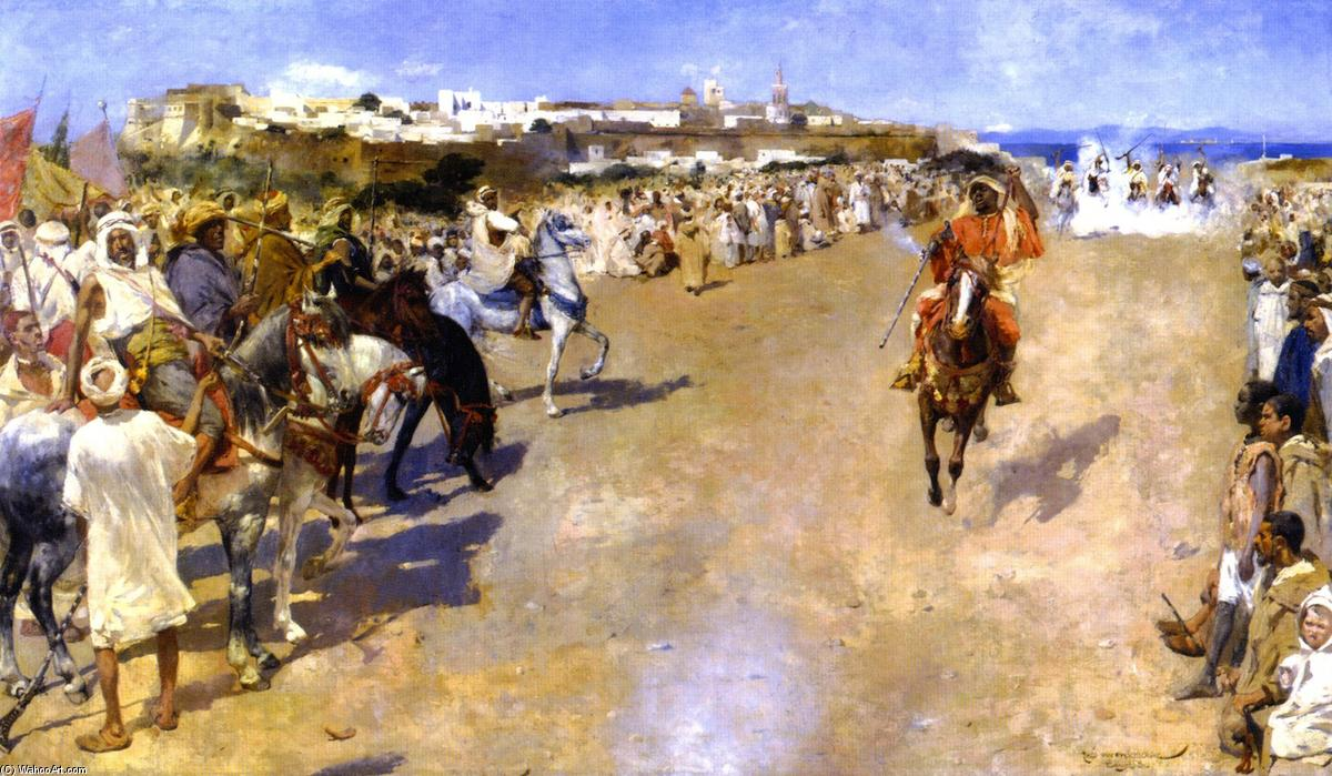Fantasia: Gunpowder Games, Morocco (also known as Fantasia: jeux de la poudre, MarocTangiers), Oil On Canvas by Theo Van Rysselberghe (1862-1926, Belgium)