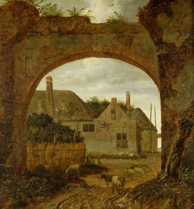 Jan Van Der Heyden - Farm Buildings Seen through an Archway