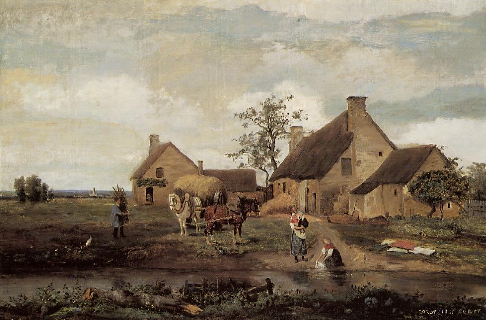 A Farm in the Nievre, 1831 by Jean Baptiste Camille Corot (1796-1875, France) | Museum Art Reproductions Jean Baptiste Camille Corot | WahooArt.com