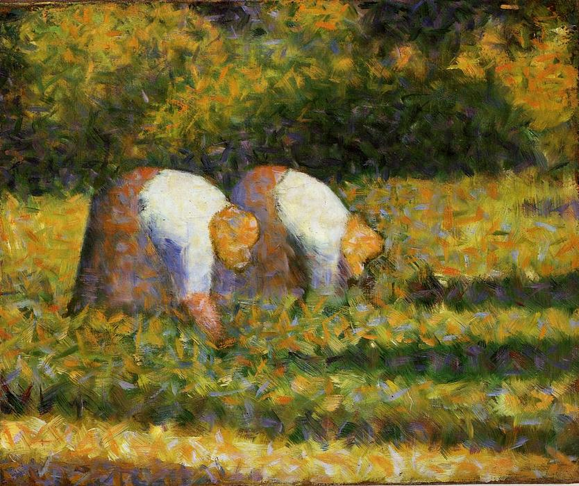 Farm Women at Work, Oil On Canvas by Georges Pierre Seurat (1859-1891, France)
