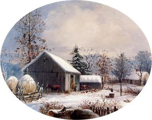 George Henry Durrie - Farmyard in Winter