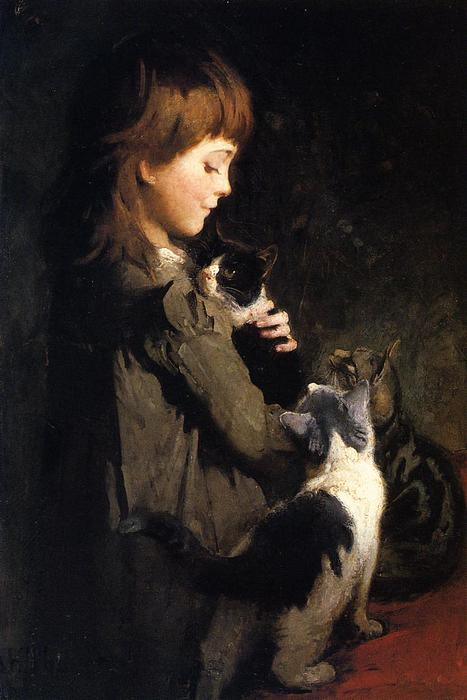 Order Famous Paintings Reproductions : The Favorite Kitten by Abbott Handerson Thayer (1849-1921, United States) | WahooArt.com