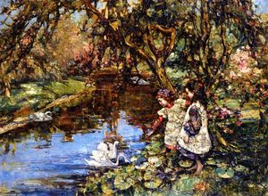 Edward Atkinson Hornel - Feeding the Swans