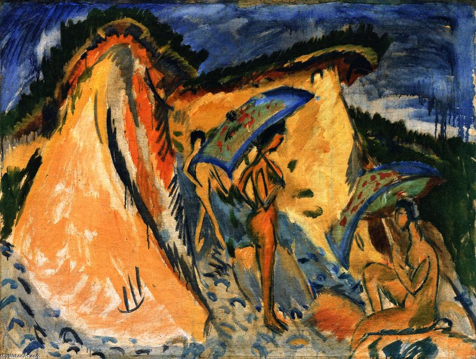 Fehmarn Dunes with Bathers under Japanese Umbrellas, 1913 by Ernst Ludwig Kirchner (1880-1938, Germany) | Museum Quality Reproductions | WahooArt.com