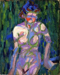 Ernst Ludwig Kirchner - Female Nude with Foliage Shadows