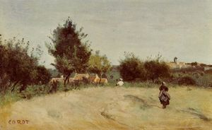 Jean Baptiste Camille Corot - Field above the Village (also known as Marcoussis)