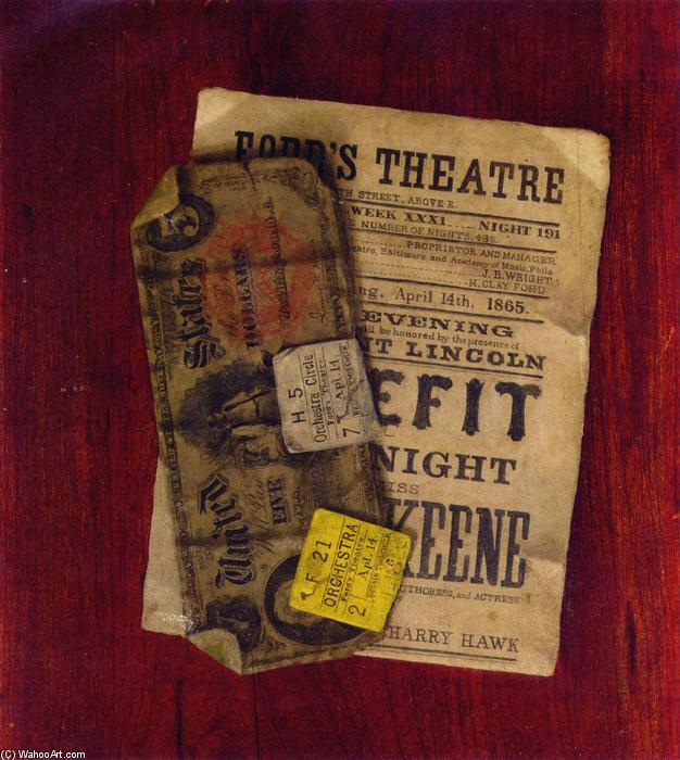 Order Oil Painting : Fife Dollar Bill, Program and Ticket Stubs from Ford`s Theater, 1889 by Nicholas Alden Brooks (1840-1904, United States) | WahooArt.com