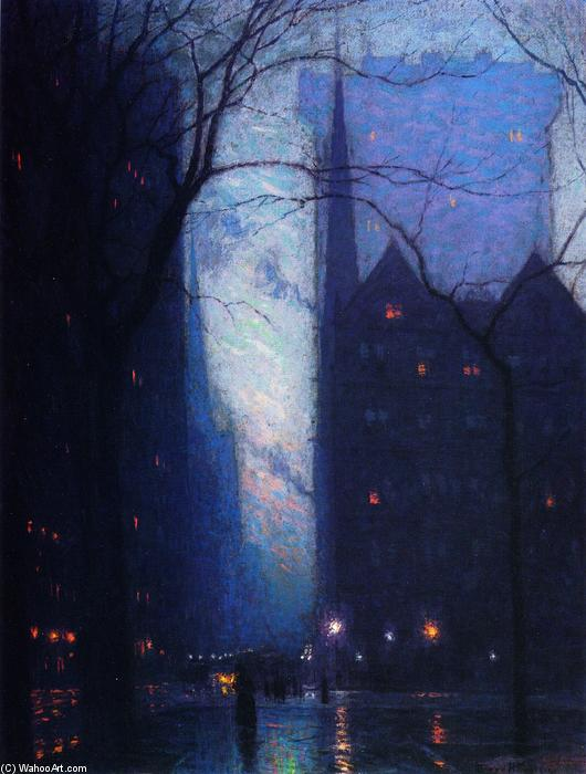 Fifth Avenue at Twilight, 1910 by Lowell Birge Harrison (1854-1929, United States) | Oil Painting | WahooArt.com