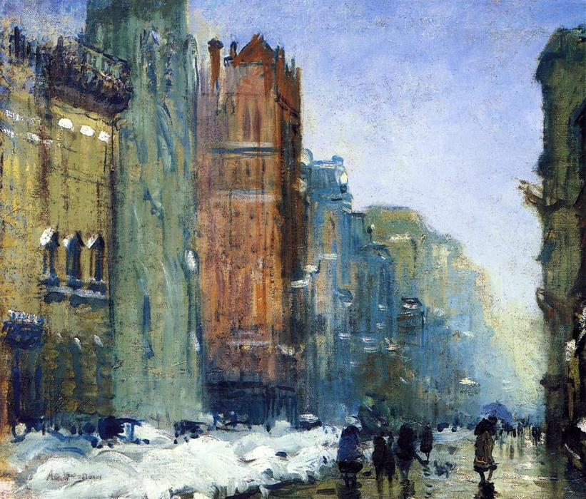Order Oil Painting : Fifth Avenue, New York by Arthur Clifton Goodwin (1864-1929, United States) | WahooArt.com