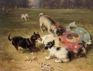 Carl Reichert - Fighting With the Kite - Manchester Terrier, Pug and King Charles Spaniel