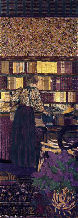 Figures in an Interior: Choosing a Book, Painting by Jean Edouard Vuillard (1868-1940, France)