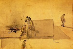 James Abbott Mcneill Whistler - A Fire at Pomfret