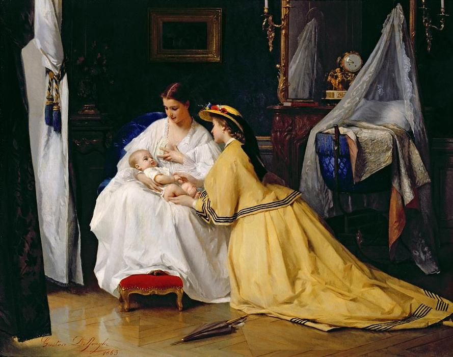 First Born by Gustave Leonard De Jonghe (1829-1893, Belgium) | Famous Paintings Reproductions | WahooArt.com
