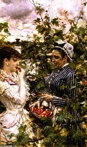 Giovanni Boldini - First Fruits (also known as The Basket of Strawberries)