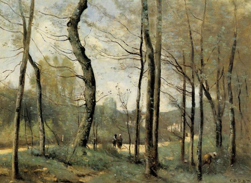 First Leaves, near Nantes, Oil On Canvas by Jean Baptiste Camille Corot (1796-1875, France)