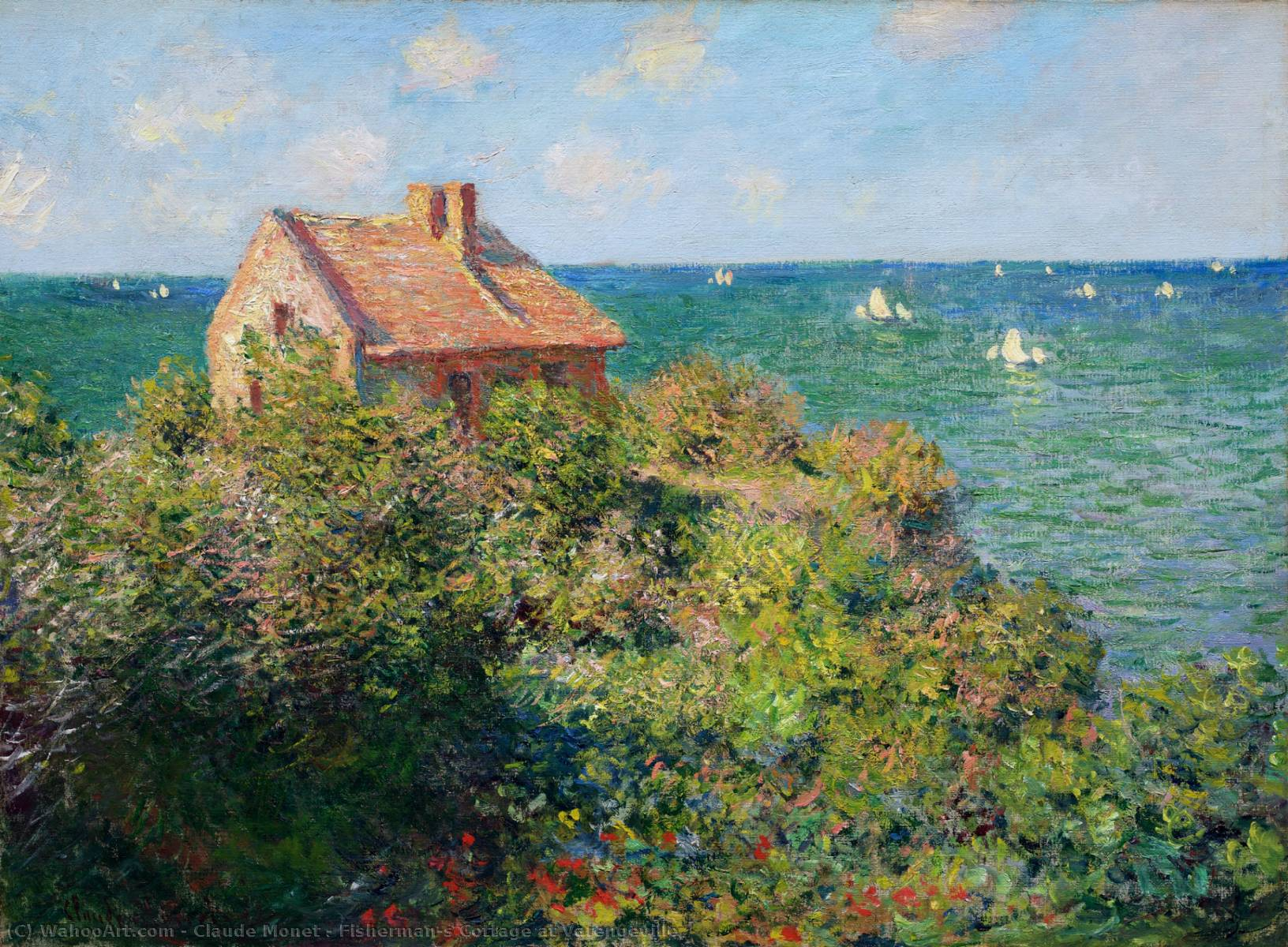 Fisherman`s Cottage at Varengeville, 1882 by Claude Monet (1840-1926, France) | Art Reproduction | WahooArt.com