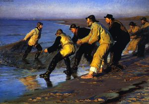 Peder Severin Kroyer - Fishermen Hauling the Net on Skagen-s North Beach