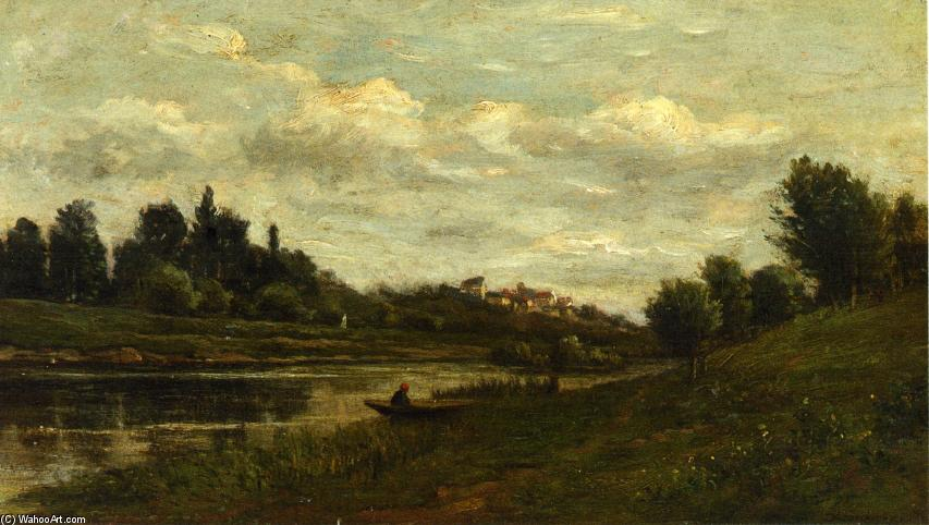 Fisherman on the Banks of the River, Oil On Panel by Charles François Daubigny (1817-1878, France)