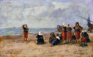 Eugène Louis Boudin - Fisherwomen on the Beach at Berck