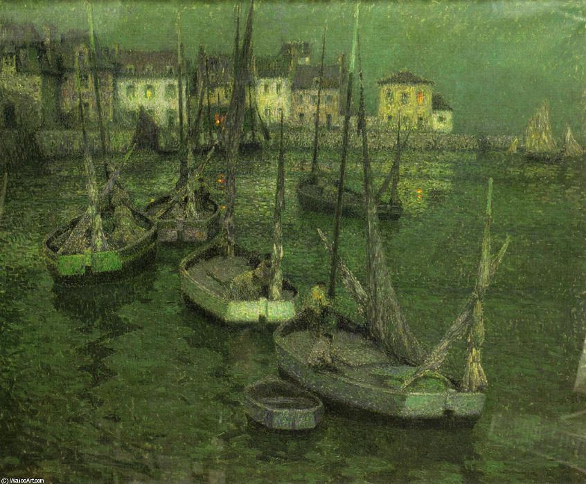 Fishing Boats, Oil On Canvas by Henri Eugène Augustin Le Sidaner (1862-1939, Mauritius)