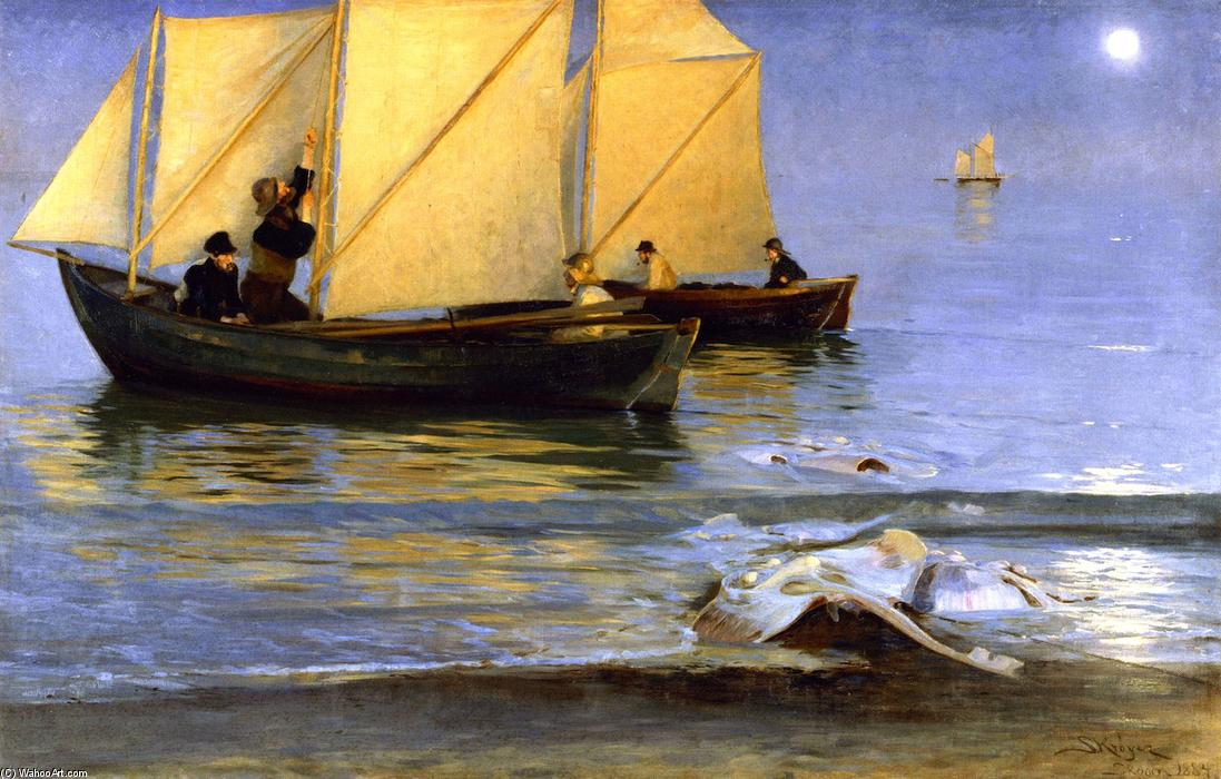 Fishing Boats, 1884 by Peder Severin Kroyer (1851-1909, Norway) | Oil Painting | WahooArt.com