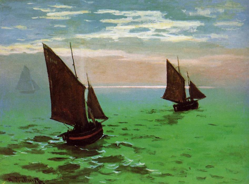 Fishing Boats at Sea, 1868 by Claude Monet (1840-1926, France) | Art Reproductions Claude Monet | WahooArt.com
