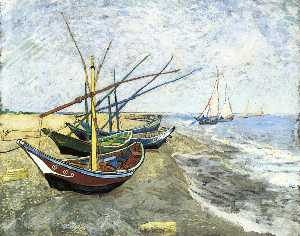 Vincent Van Gogh - Fishing boats on the Beach at Les Saintes-Maries-de-la-Mer - (paintings reproductions)