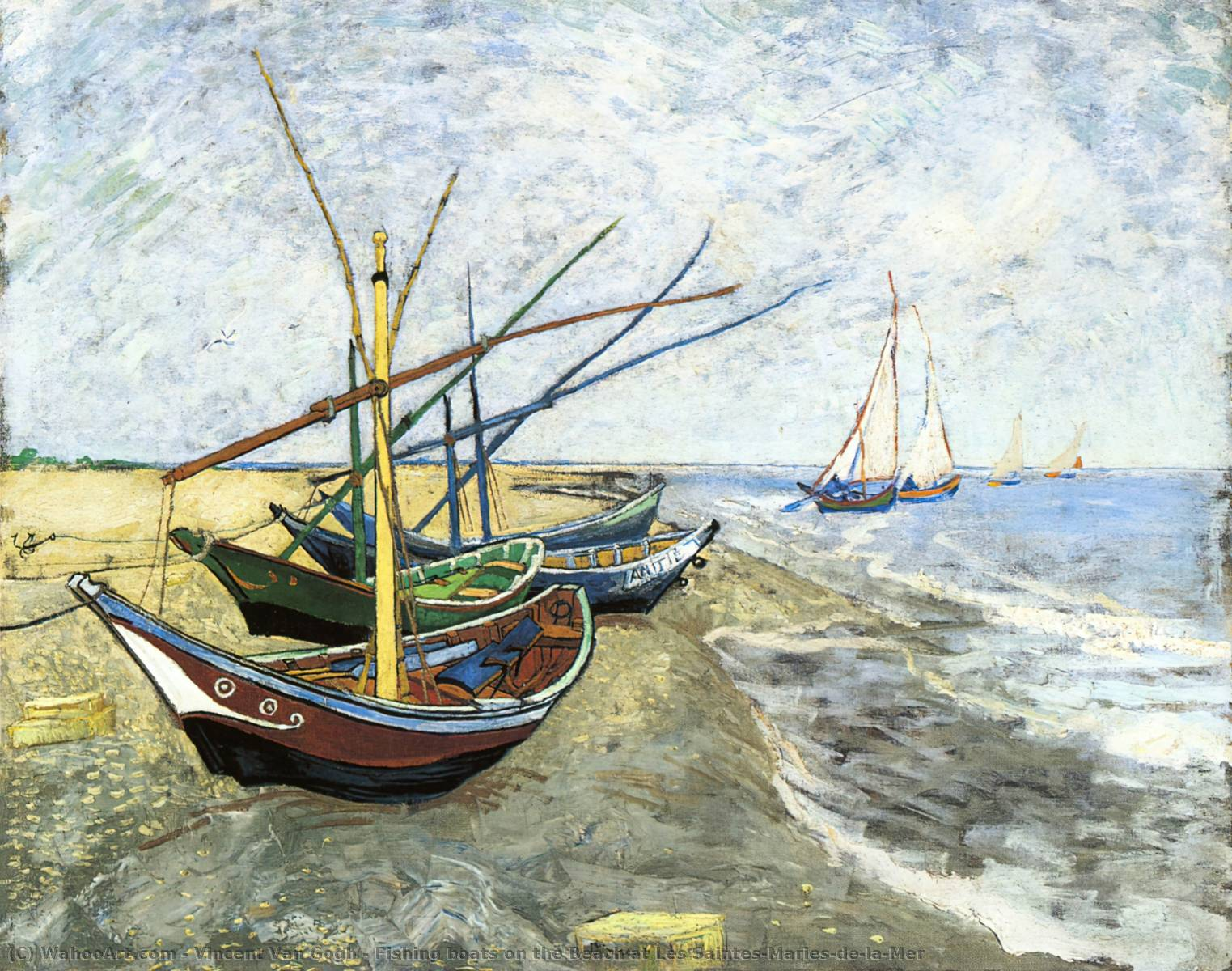 Fishing boats on the Beach at Les Saintes-Maries-de-la-Mer, 1888 by Vincent Van Gogh (1853-1890, Netherlands) | Painting Copy | WahooArt.com