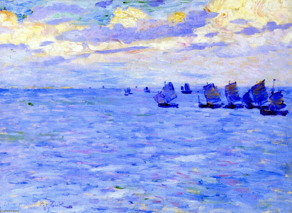 Fishing Boats Setting Sail, 1887 by Theo Van Rysselberghe (1862-1926, Belgium) | Oil Painting | WahooArt.com