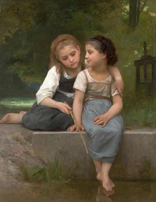 Fishing for Frogs, Oil On Canvas by William Adolphe Bouguereau (1825-1905, France)