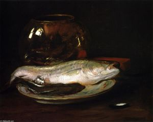 William Merritt Chase - Fish Still Life (also known as Still LIfe - Fish and Big Bowl, Still LIfe - Striped Bass)