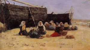 Eugène Louis Boudin - Fishwomen Seated on the Beach at Berck
