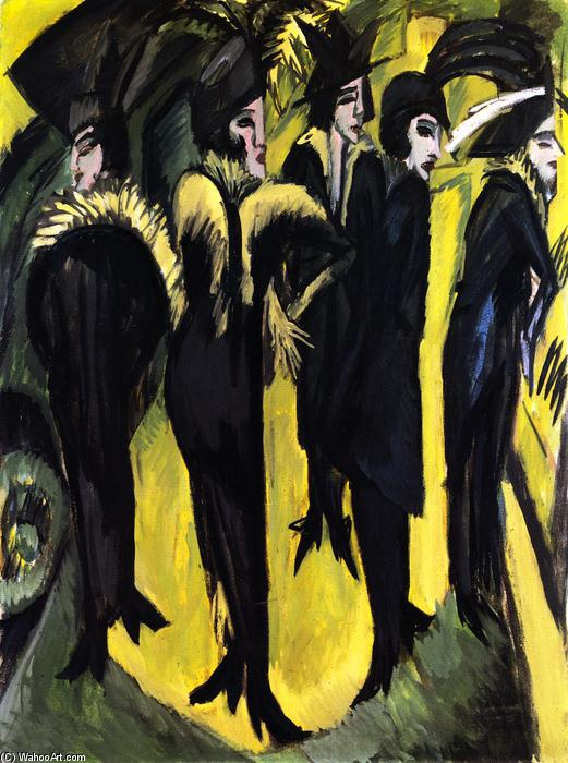 Five Women on the Street, 1914 by Ernst Ludwig Kirchner (1880-1938, Germany) | WahooArt.com