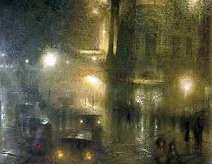 Arthur Hacker - Flare and Flutter: Piccadilly Circus at Night