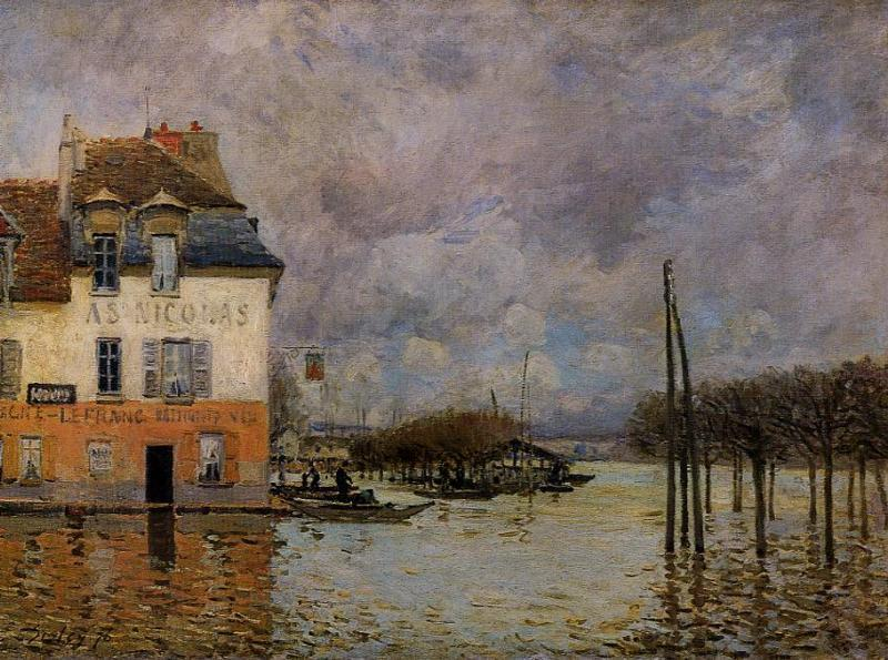 Flood at Port-Marly, Oil On Canvas by Alfred Sisley (1839-1899, France)