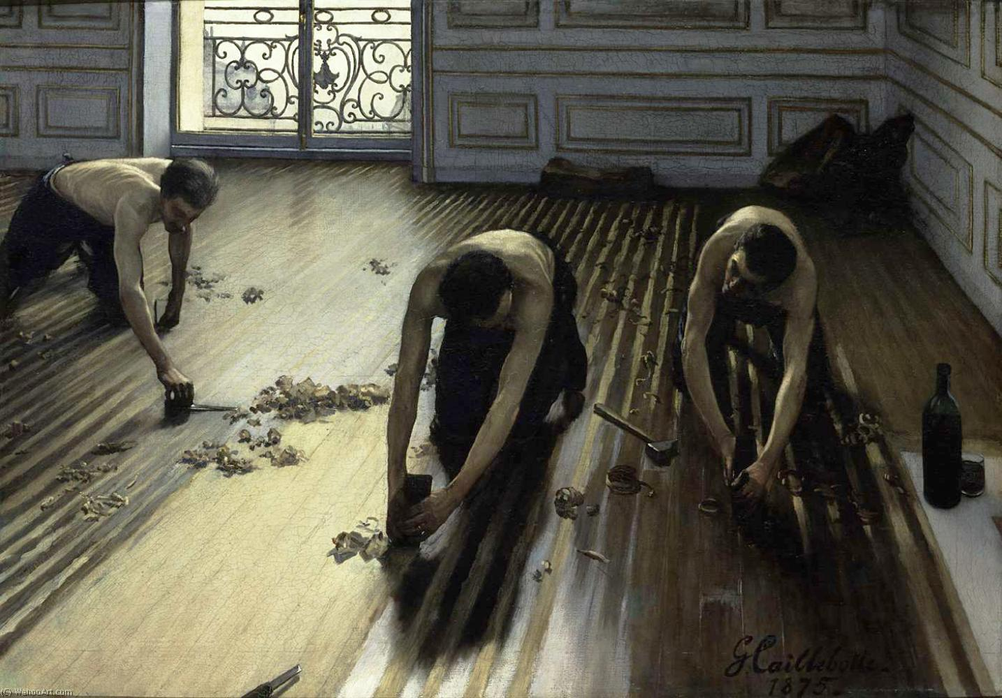 The Floor Scrapers (also known as The Floor Strippers), 1875 by Gustave Caillebotte (1848-1894, France) | Museum Quality Reproductions | WahooArt.com
