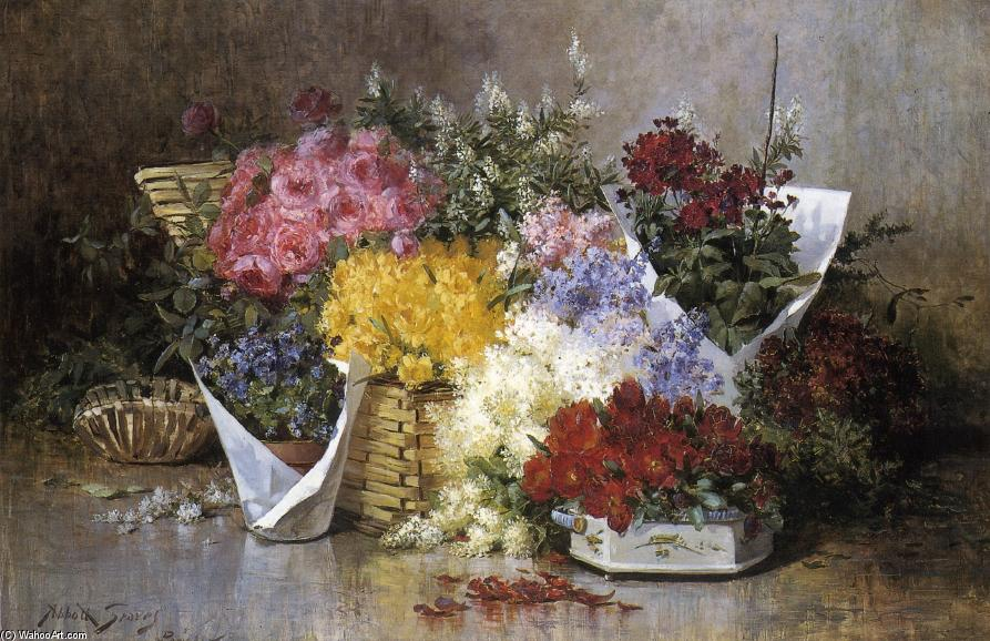 Floral Still Life, Oil On Canvas by Abbott Fuller Graves (1859-1936, United States)