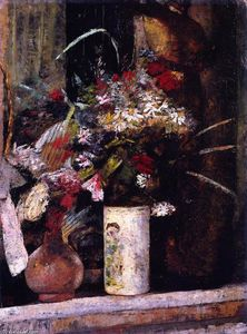 Lesser Ury - Flowers on the Mantel