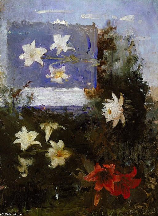 Flower Studies, Oil On Canvas by Abbott Handerson Thayer (1849-1921, United States)
